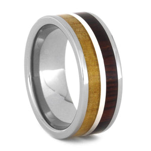 COCOBOLO WEDDING SILVER BAND WITH BIRCH WOOD-3445 - Cairo Men's Wedding Rings