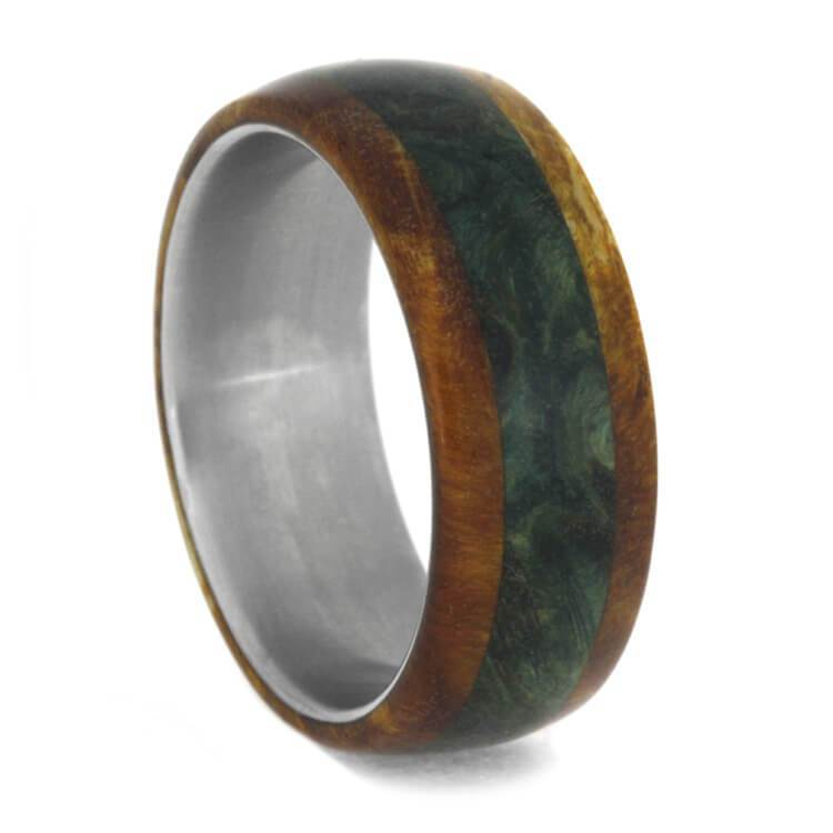 WOOD WEDDING BAND WITH GREEN AND GOLD BOX ELDER BURL-1033 - Cairo Men's Wedding Rings