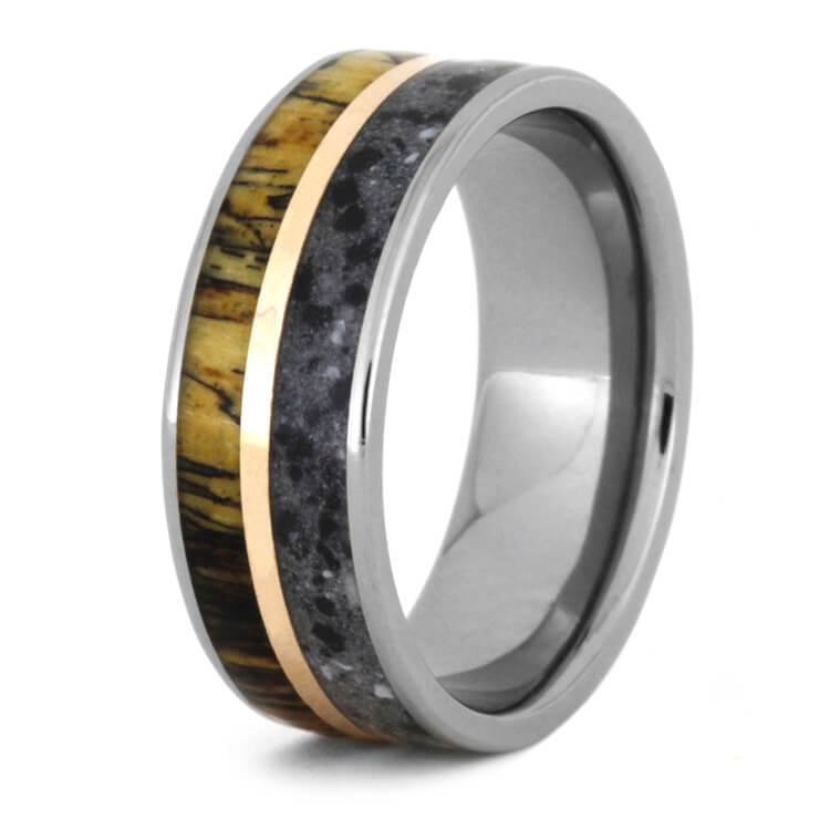 CONCRETE TITANIUM RING WITH TAMARIND WOOD AND COPPER-3568 - Cairo Men's Wedding Rings