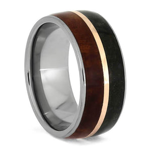 COOLIBAH WOOD RING WITH 14k ROSE GOLD AND TITANIUM-3689 - Cairo Men's Wedding Rings