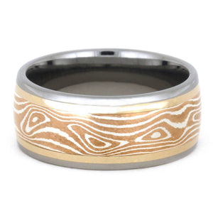 COPPER AND SILVER MOKUME TITANIUM RING-3393 - Cairo Men's Wedding Rings