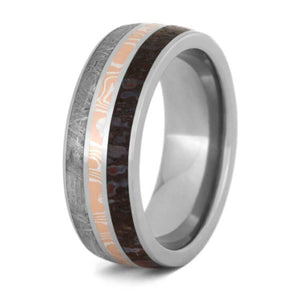 COPPER MOKUME AND METEORITE BAND WITH TITANIUM AND DINOSAUR BONE-2303 - Cairo Men's Wedding Rings