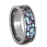 CRUSHED ABALONE RING WITH TITANIUM-2240 - Cairo Men's Wedding Rings