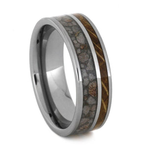 CRUSHED ANTLER WEDDING BAND WITH WHISKEY BARREL WOOD-3114 - Cairo Men's Wedding Rings