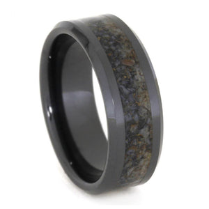 CRUSHED DINOSAUR BONE BEVELED RING IN BLACK CERAMIC-3331 - Cairo Men's Wedding Rings