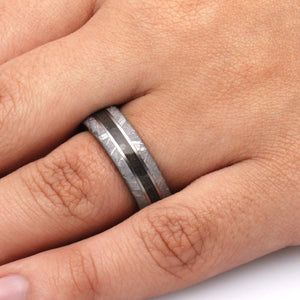 TITANIUM CRUSHED DINOSAUR BONE RING WITH METEORITE AND WOOD-3639 - Cairo Men's Wedding Rings