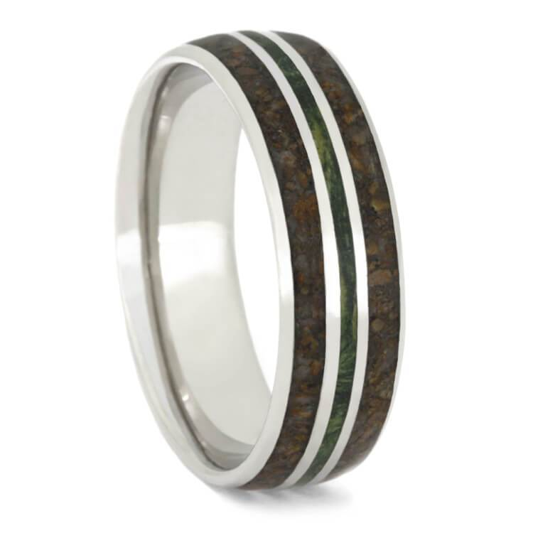 PLATINUM CRUSHED DINOSAUR BONE WEDDING BAND WITH GREEN BOX ELDER-2397 - Cairo Men's Wedding Rings