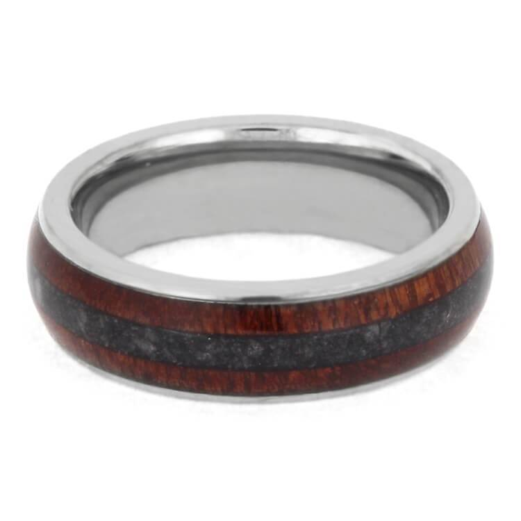 CRUSHED ONYX WEDDING BAND WITH TITANIUM BLOODWOOD-2375 - Cairo Men's Wedding Rings