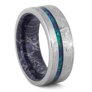 TITANIUM CRUSHED OPAL WEDDING BAND WITH MOKUME SLEEVE AND METEORITE-3558 - Cairo Men's Wedding Rings