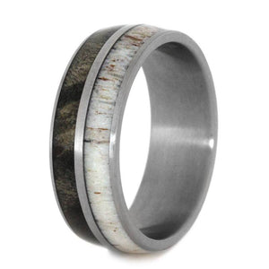 TITANIUM RING WITH ANTLER AND BUCKEYE BURL-2790 - Cairo Men's Wedding Rings