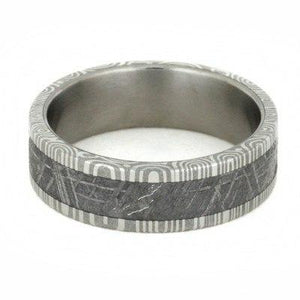 DAMASCUS RING WITH METEORITE IN STAINLESS STEEL-1779 - Cairo Men's Wedding Rings