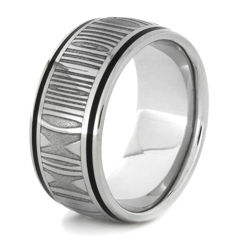 DAMASCUS ENAMEL STEEL RING IN 14k WHITE GOLD-1727 - Cairo Men's Wedding Rings