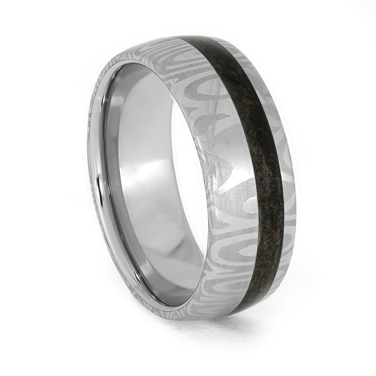 DAMASCUS WEDDING BAND WITH CRUSHED DINOSAUR BONE-3935 - Cairo Men's Wedding Rings