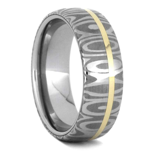 DAMASCUS WEDDING BAND WITH 14k YELLOW GOLD-3532 - Cairo Men's Wedding Rings