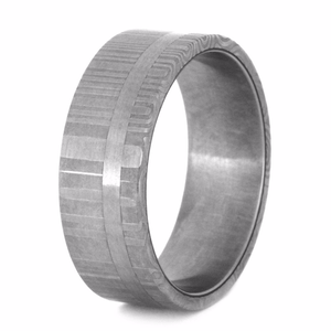 DAMASCUS WEDDING BAND WITH STAINLESS STEEL-2227 - Cairo Men's Wedding Rings