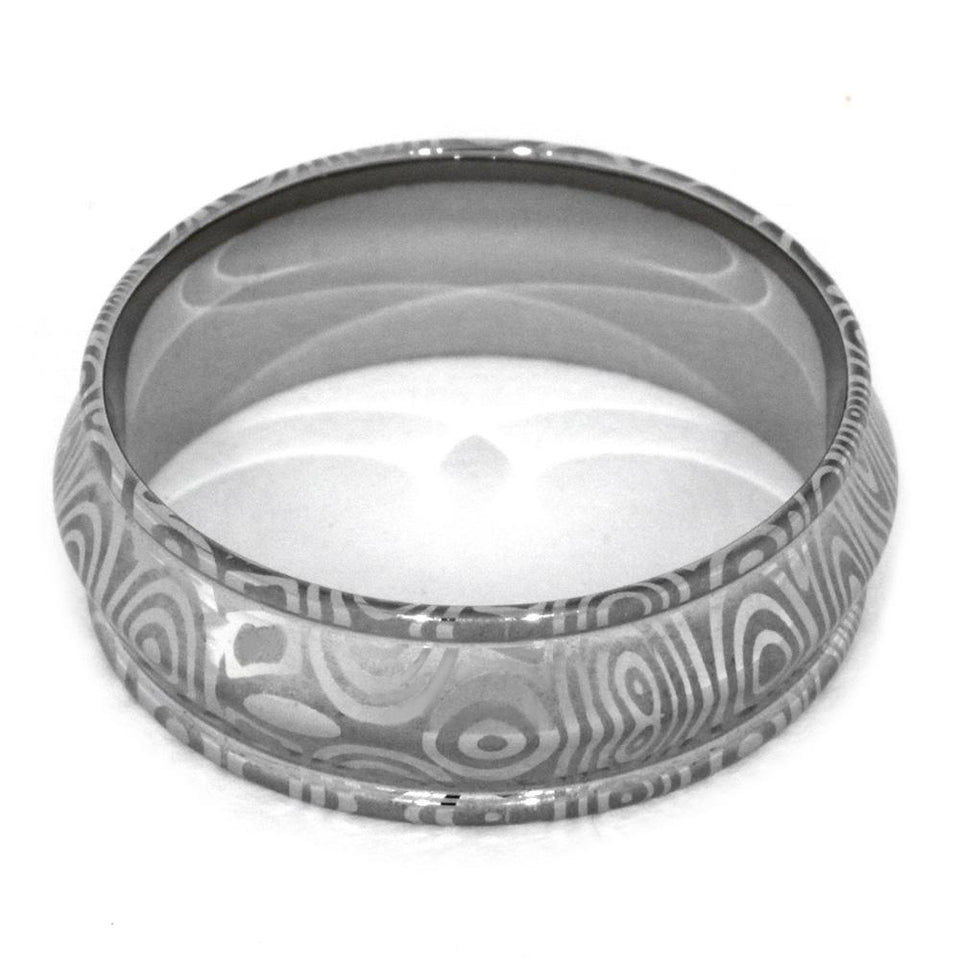 DAMASCUS WEDDING BAND WITH ETCHED PATTERN-2087 - Cairo Men's Wedding Rings