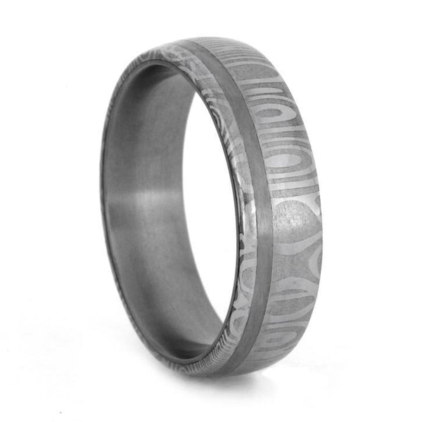 DAMASCUS WEDDING BAND WITH STAINLESS STEEL SLEEVE-1789 - Cairo Men's Wedding Rings