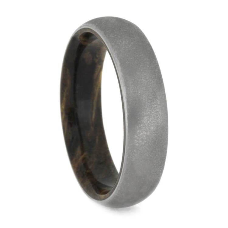 DEEP FROSTED TITANIUM RING WITH SINDORA WOOD-1470 - Cairo Men's Wedding Rings