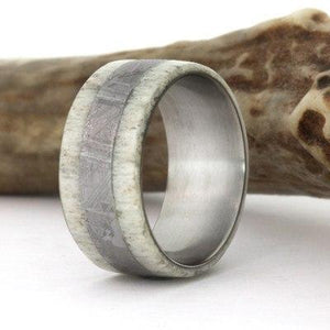 DEER ANTLER AND METEORITE RING ON TITANIUM-1747 - Cairo Men's Wedding Rings
