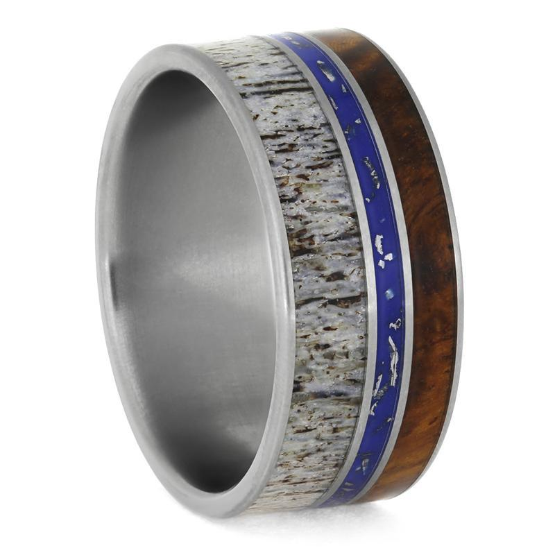 ANTLER AND STARDUST MENS BAND WITH AMBOYNA WOOD-3873 - Cairo Men's Wedding Rings