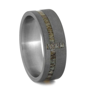 DEER ANTLER CROSS BAND IN SANDBLASTED TITANIUM -3203 - Cairo Men's Wedding Rings