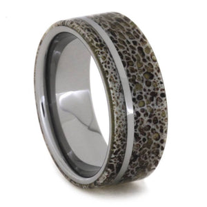 DEER ANTLER AND TUNGSTEN WEDDING BAND-1827 - Cairo Men's Wedding Rings