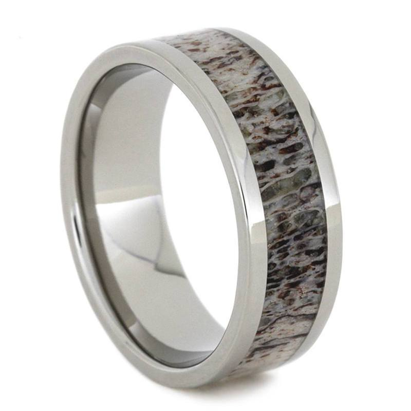 DEER ANTLER RING WITH TITANIUM-1492 - Cairo Men's Wedding Rings