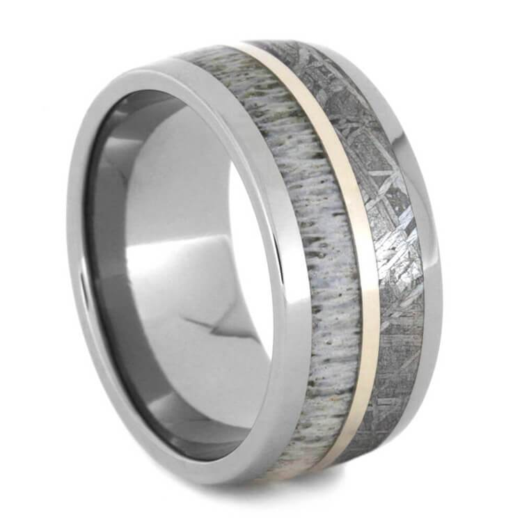 DEER ANTLER AND METEORITE TITANIUM RING WITH 14k WHITE GOLD-1440 - Cairo Men's Wedding Rings