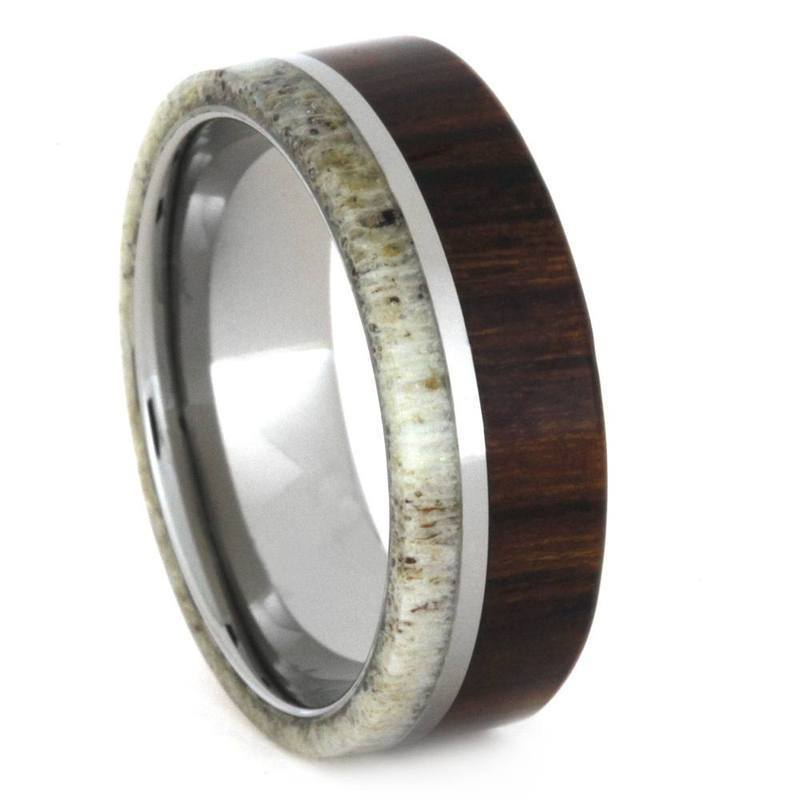 DEER ANTLER RING WITH IRONWOOD AND TITANIUM-3302 - Cairo Men's Wedding Rings