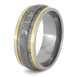 DEER ANTLER RING WITH METEORITE AND 14k YELLOW GOLD-1228 - Cairo Men's Wedding Rings