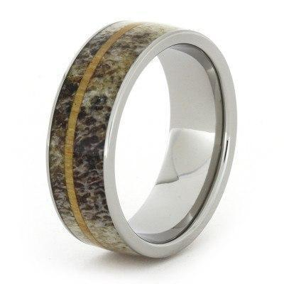 DEER ANTLER RING WITH OAK WOOD AND TITANIUM-1730 - Cairo Men's Wedding Rings