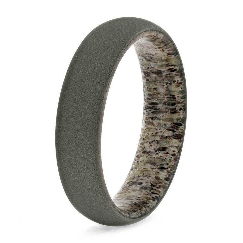 DEER ANTLER RING WITH SANDBLASTED TITANIUM-3672 - Cairo Men's Wedding Rings