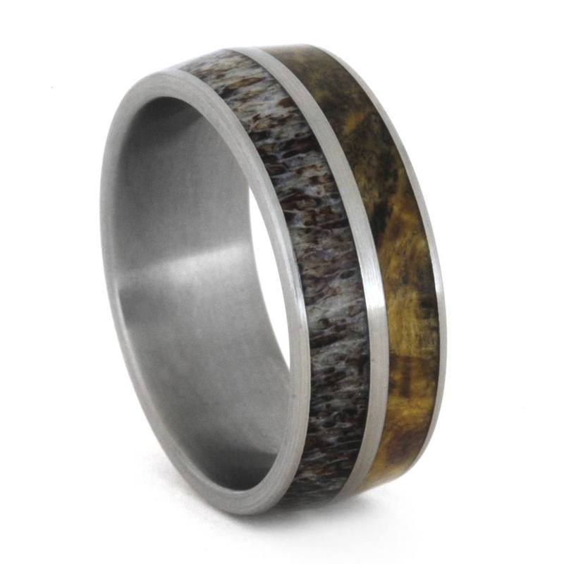 DEER ANTLER AND BURL WOOD WEDDING BAND IN TITANIUM-3303 - Cairo Men's Wedding Rings