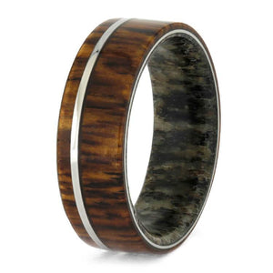 DEER ANTLER SLEEVE RING WITH TITANIUM HONDURAN ROSEWOOD-3688 - Cairo Men's Wedding Rings