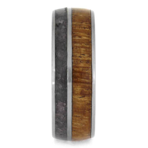 ANTLER SLEEVE RING WITH MESQUITE WOOD AND CRUSHED ONYX-2413 - Cairo Men's Wedding Rings