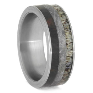 DEER ANTLER METEORITE AND PETRIFIED WOOD WEDDING BAND-2481 - Cairo Men's Wedding Rings