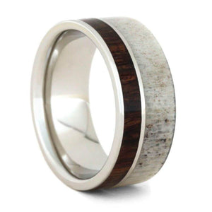 10K WHITE GOLD RING WITH CARIBBEAN ROSEWOOD AND ANTLER-2283 - Cairo Men's Wedding Rings