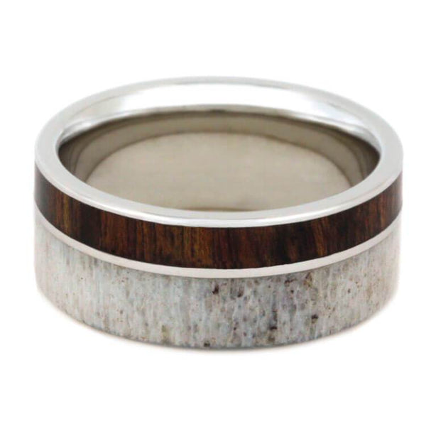 PLATINUM RING WITH CARIBBEAN ROSEWOOD AND ANTLER-2283