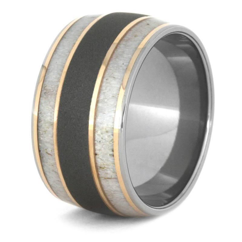 DEER ANTLER WEDDING BAND WITH TITANIUM 14k ROSE GOLD-3447 - Cairo Men's Wedding Rings