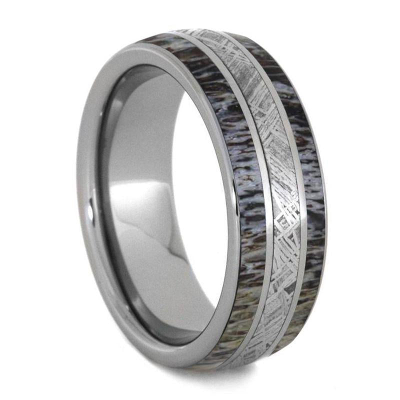 DEER ANTLER WEDDING BAND WITH TITANIUM METEORITE-4240 - Cairo Men's Wedding Rings