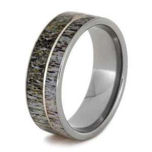 ANTLER TITANIUM WEDDING BAND WITH STERLING SILVER ARROW-2679 - Cairo Men's Wedding Rings