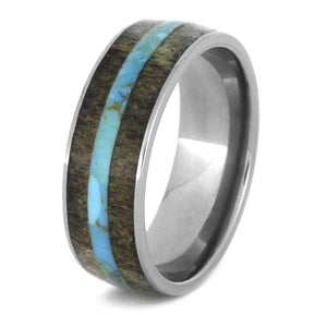 TITANIUM CRUSHED DEER ANTLER RING WITH TURQUOISE-3272 - Cairo Men's Wedding Rings