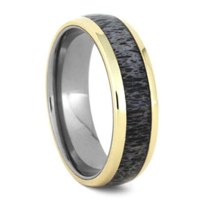 DEER ANTLER WEDDING BAND WITH 14k YELLOW GOLD-2280 - Cairo Men's Wedding Rings