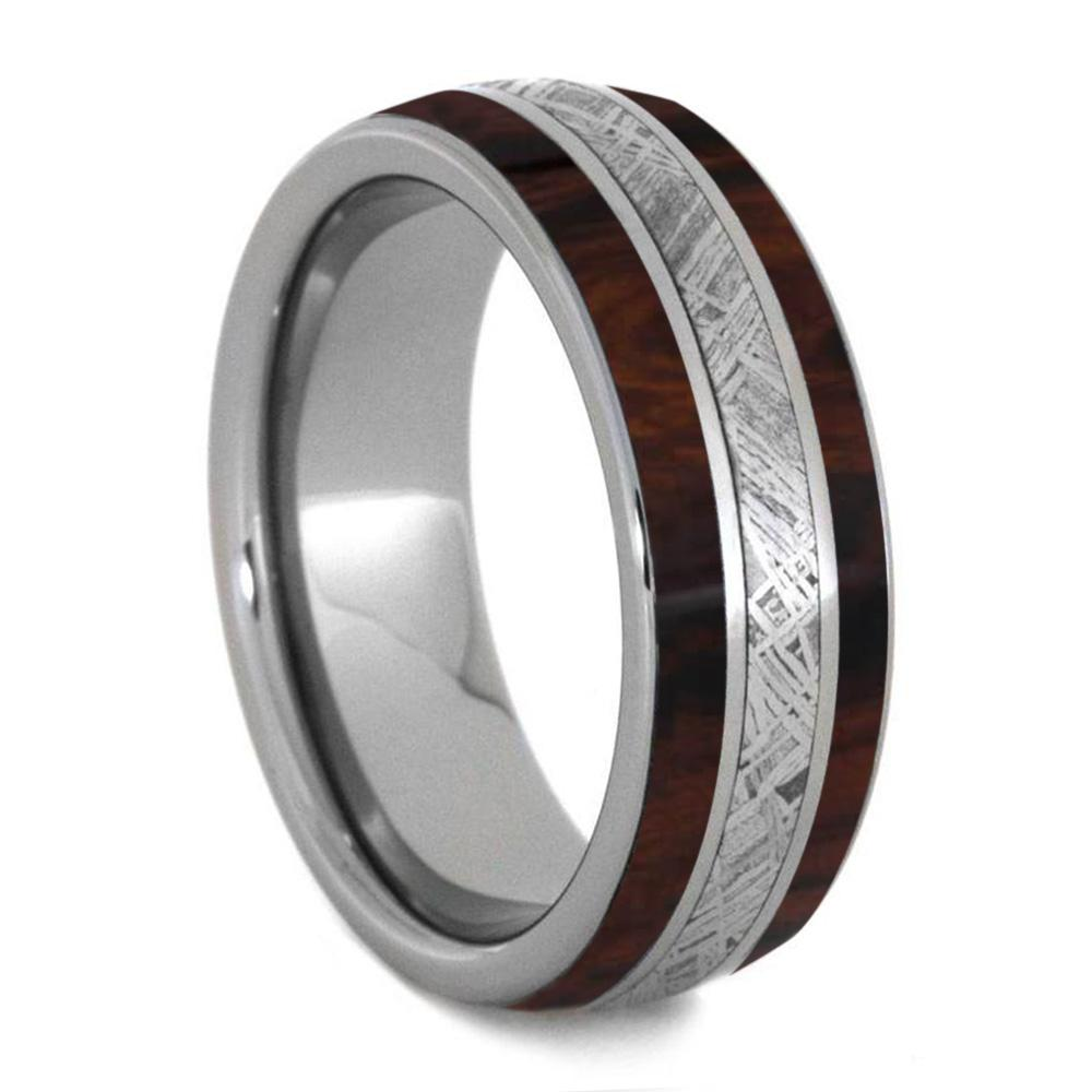 DESERT IRONWOOD TITANIUM AND METEORITE RING FOR MEN-4246 - Cairo Men's Wedding Rings