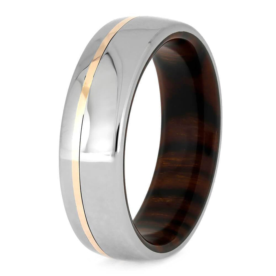 DESERT IRONWOOD TITANIUM WEDDING BAND WITH 14k ROSE GOLD-3762 - Cairo Men's Wedding Rings