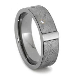 DIAMOND TITANIUM METEORITE RING IN WHITE GOLD-1942 - Cairo Men's Wedding Rings