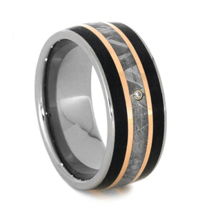 METEORITE BAND WITH PETRIFIED WOOD AND ROSE GOLD-3198 - Cairo Men's Wedding Rings