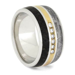 DIAMOND PLATINUM METEORITE AND DINO BONE RING-2487 - Cairo Men's Wedding Rings
