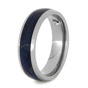 TITANIUM RING WITH BLUE BOX ELDER BURL AND DIAMONDS-2509 - Cairo Men's Wedding Rings
