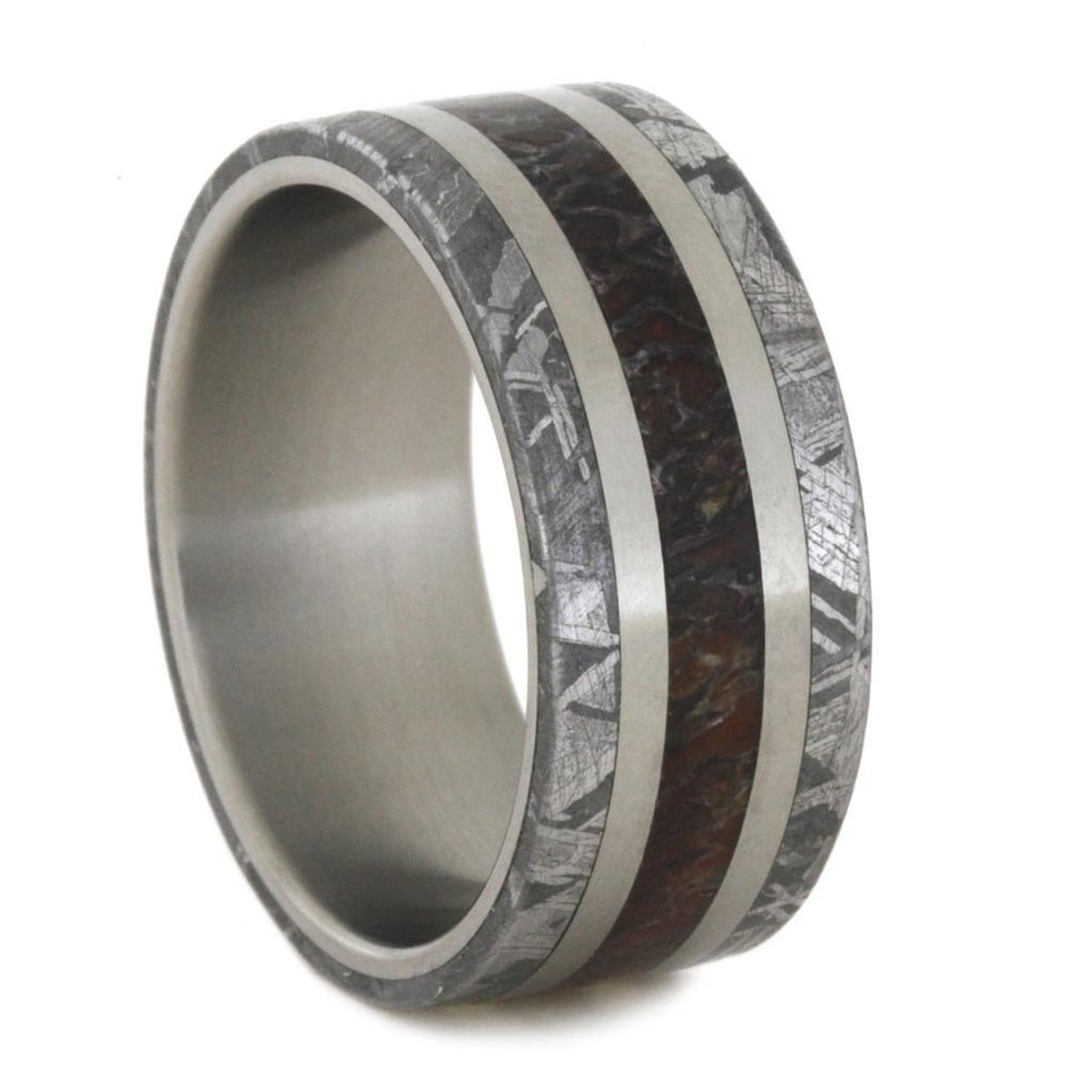 DINOSAUR BONE AND METEORITE RING WITH TITANIUM-2781 - Cairo Men's Wedding Rings